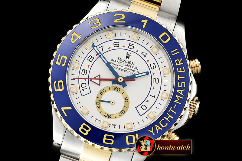 Rolex YachtMaster II Blue YG/SS White BP Asia 2813 Mod